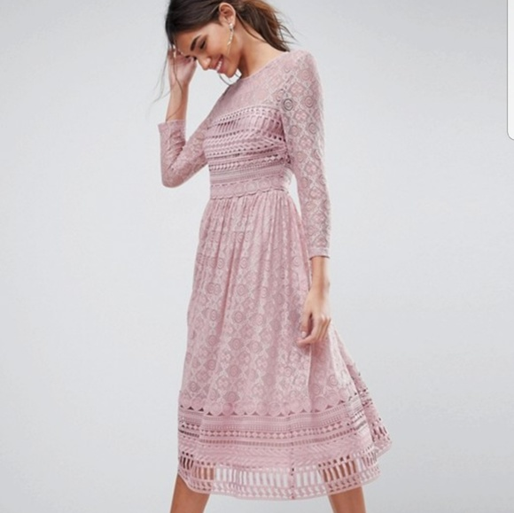 elegant and sturdy package noveldesign latest discount Asos premium lace midi dress in blush pink NWT